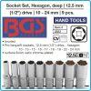 "Вложки дълги шестограм, бели Pro torque®, к-т 9бр, 10-24mm, захват 1/2"", BGS, 2223"