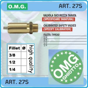 Предпазен клапан, за компресор, пружинен вентил, 12 Bar, OMG, 27S