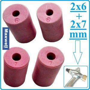 Дюзи керамични, за пясъкоструйка, к-т, 4бр, 6 и 7mm, Ø21mm, h36mm, Maxwell