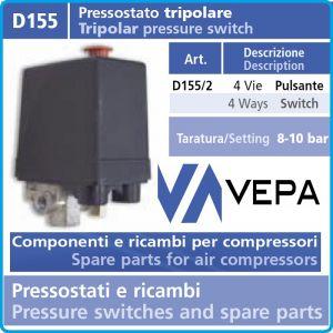 Пресостат, трифазен, автоматичен, 12Bar, 20A, 400V, Vepa, D155/2