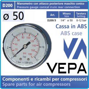 """Манометър аксиален, атмосферен, 0-12Bar, 1/4"""", Ø50mm, Vepa, D200/3"""