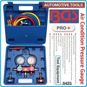 Манометри за фреон R12 и R134A, блок за зареждане комплект, BGS, 8425