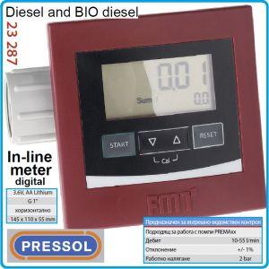 """Разходомер за дизел и BIOd, 2Bar, цифров брояч, 1"""", 55L/min, Pressol, 23287"""