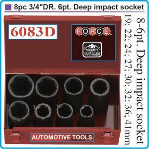 """Вложки ударни, удължени h100mm, комплект 8бр, 3/4"""", 19-41mm, Force, 6083D"""