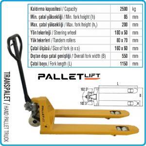 Палетна количка, 2.5t, транспалетна, вилична, Pallet Lift, PL55002