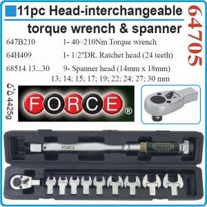 """Ключ динамометричен, автоматичен, 40-210 Nm, 1/2"""", 10 глави, Force 64705"""