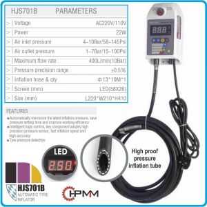 Инфлатор, прецизен уред за помпане на гуми, 10Bar, 230V, 10m, HPMM, HJS701B