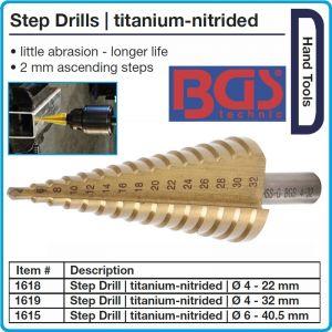 Свредло / райбер за метал, стъпков през 2mm, титаниев Ø4-32mm, BGS, 1619