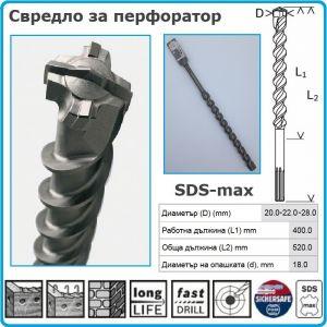 Свредло, за бетон, проходно, SDS-max-4, 20/22/28x520mm, Bosch