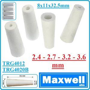 Дюзи, керамични, за пясъкоструйка, 38/76L, к-т, 4 броя, 2.4-3.6mm, Maxwell