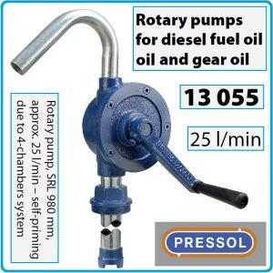 Помпа ротационна, ръчна, за масло и дизел, 25l/min, SAE90, Pressol, 13055