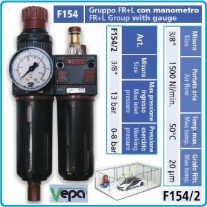 """Пневмо група, за сгъстен въздух, 3/8"""", 13Bar, 1500l/min, FRL, Vepa, F154/2"""