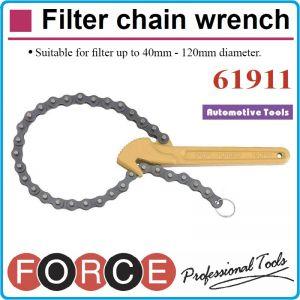 Ключ за филтър с верига, въздушен / маслен Ø40-120mm, Force, 61911