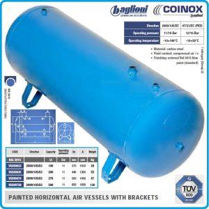 Ресивър, хоризонтален резервоар за сгъстен въздух H100 - 500L, 11Bar, Coinox